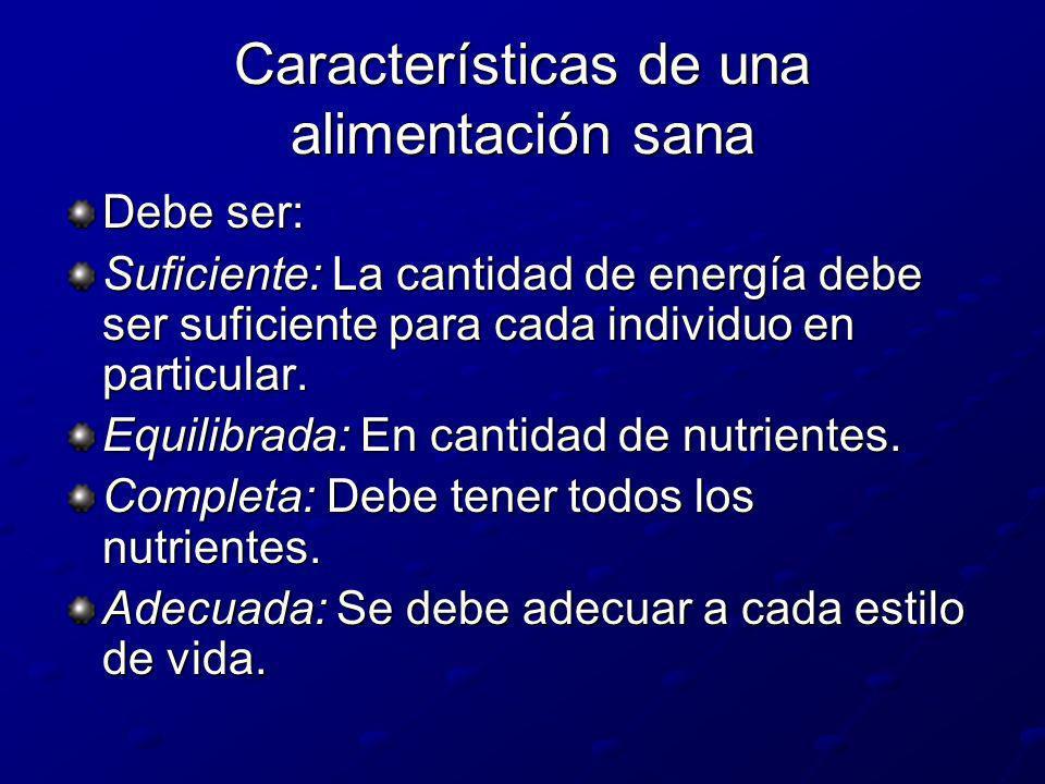 Características de una alimentación sana