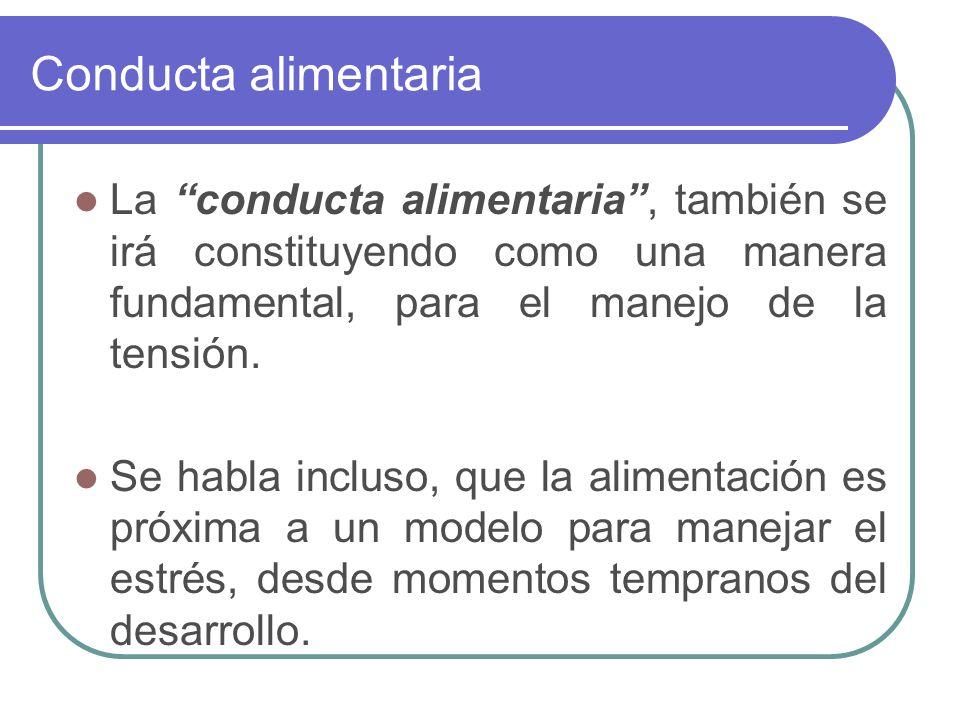 Conducta alimentaria La conducta alimentaria , también se irá constituyendo como una manera fundamental, para el manejo de la tensión.