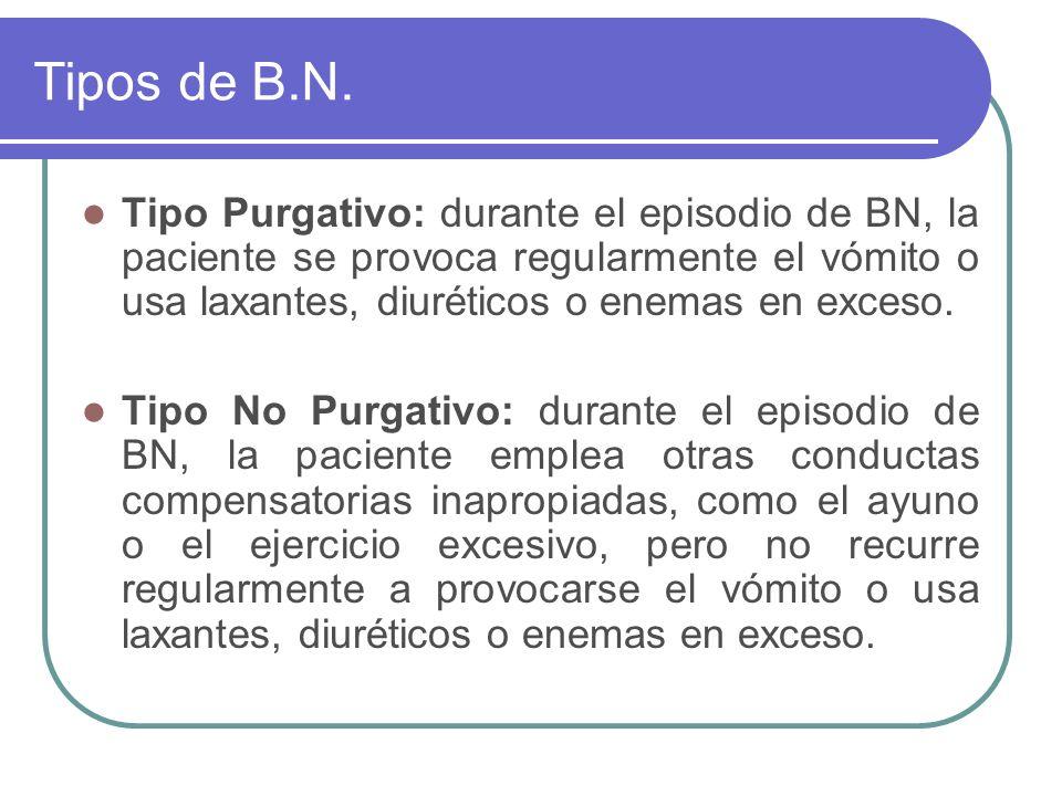 Tipos de B.N. Tipo Purgativo: durante el episodio de BN, la paciente se provoca regularmente el vómito o usa laxantes, diuréticos o enemas en exceso.
