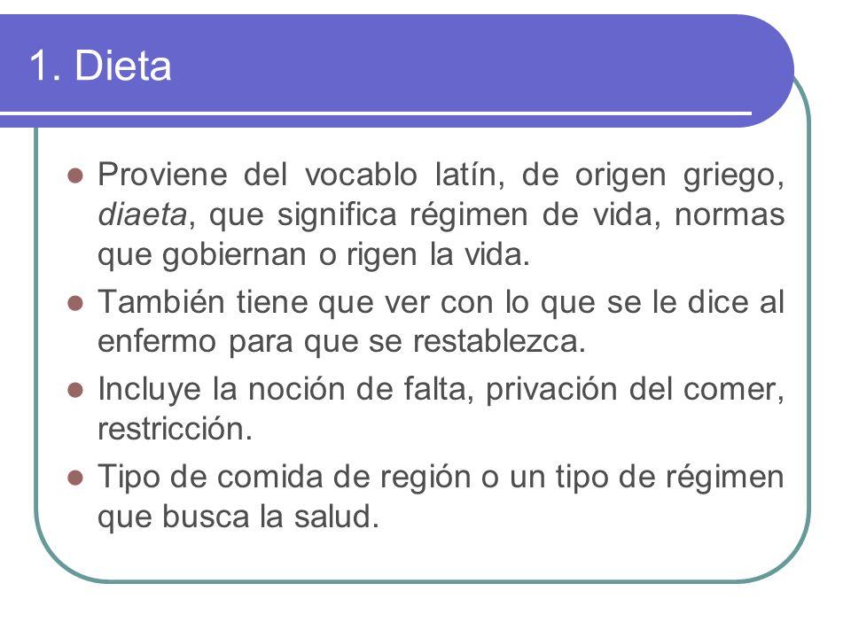 1. Dieta Proviene del vocablo latín, de origen griego, diaeta, que significa régimen de vida, normas que gobiernan o rigen la vida.