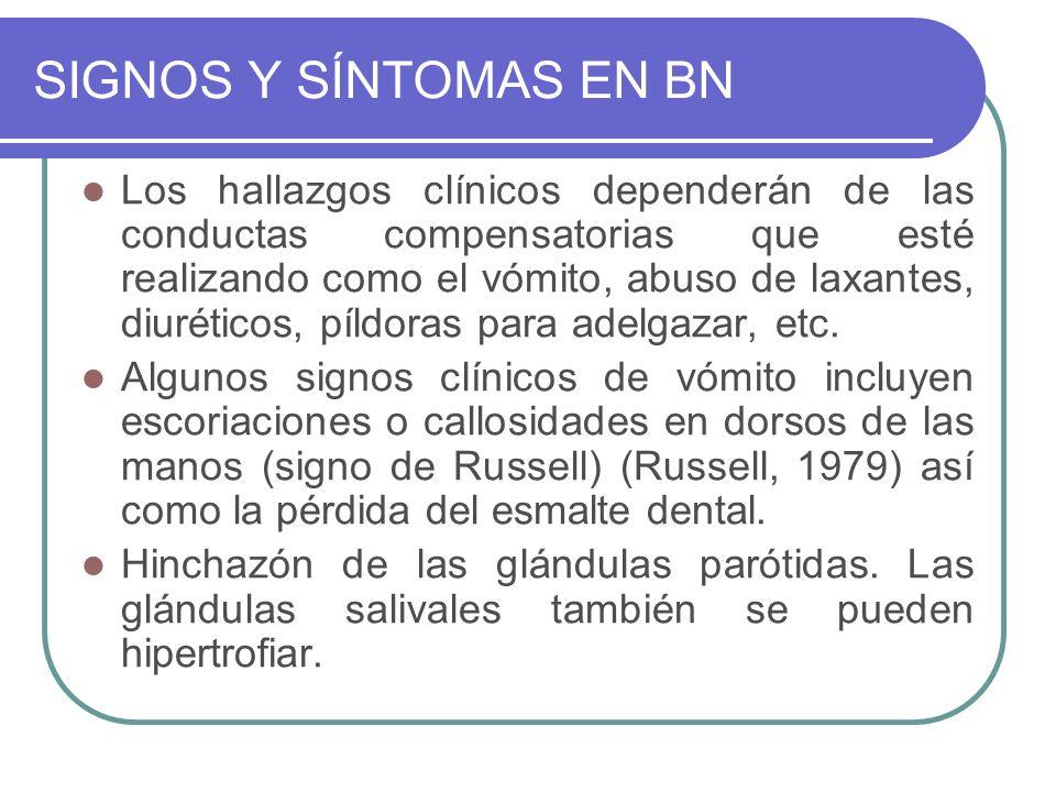 SIGNOS Y SÍNTOMAS EN BN