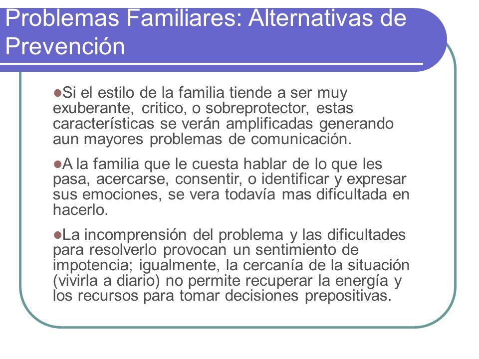 Problemas Familiares: Alternativas de Prevención