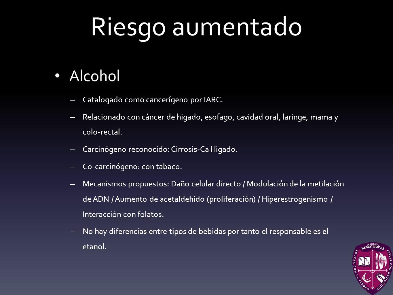 Riesgo aumentado Alcohol Catalogado como cancerígeno por IARC.