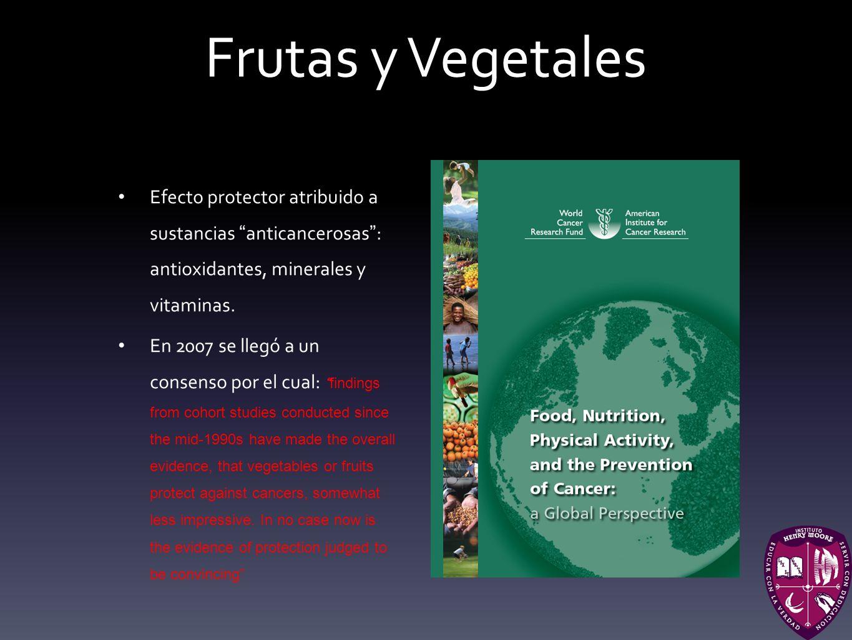 Frutas y Vegetales Efecto protector atribuido a sustancias anticancerosas : antioxidantes, minerales y vitaminas.