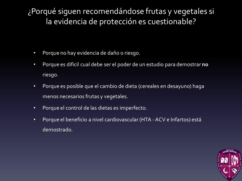 ¿Porqué siguen recomendándose frutas y vegetales si la evidencia de protección es cuestionable