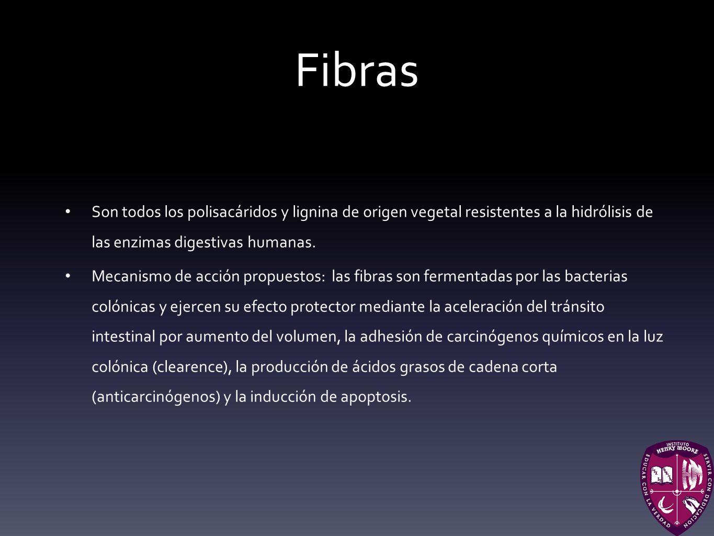 Fibras Son todos los polisacáridos y lignina de origen vegetal resistentes a la hidrólisis de las enzimas digestivas humanas.