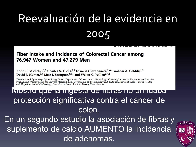 Reevaluación de la evidencia en 2005