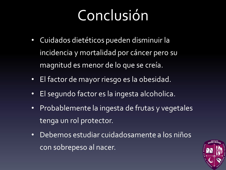 Conclusión Cuidados dietéticos pueden disminuir la incidencia y mortalidad por cáncer pero su magnitud es menor de lo que se creía.