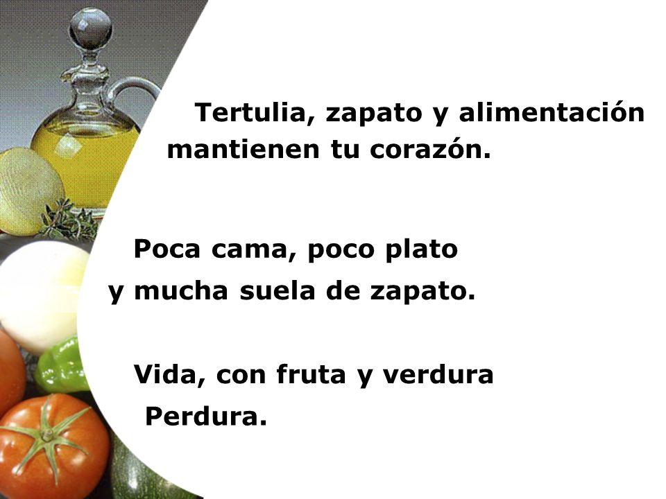 Tertulia, zapato y alimentación Vida, con fruta y verdura