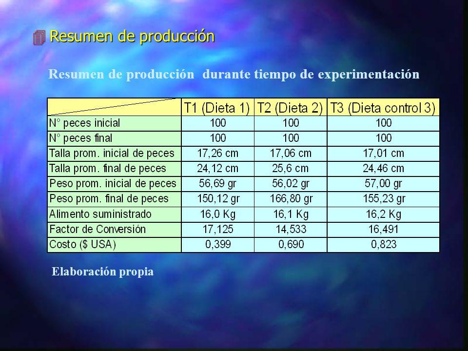 Resumen de producción durante tiempo de experimentación