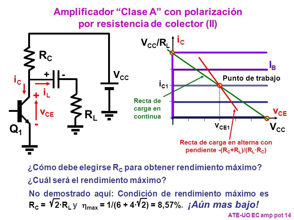 Amplificador Clase A con polarización por resistencia de colector (II)