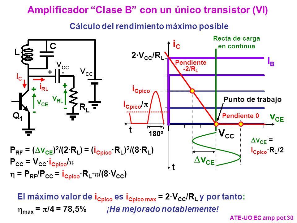 Amplificador Clase B con un único transistor (VI)