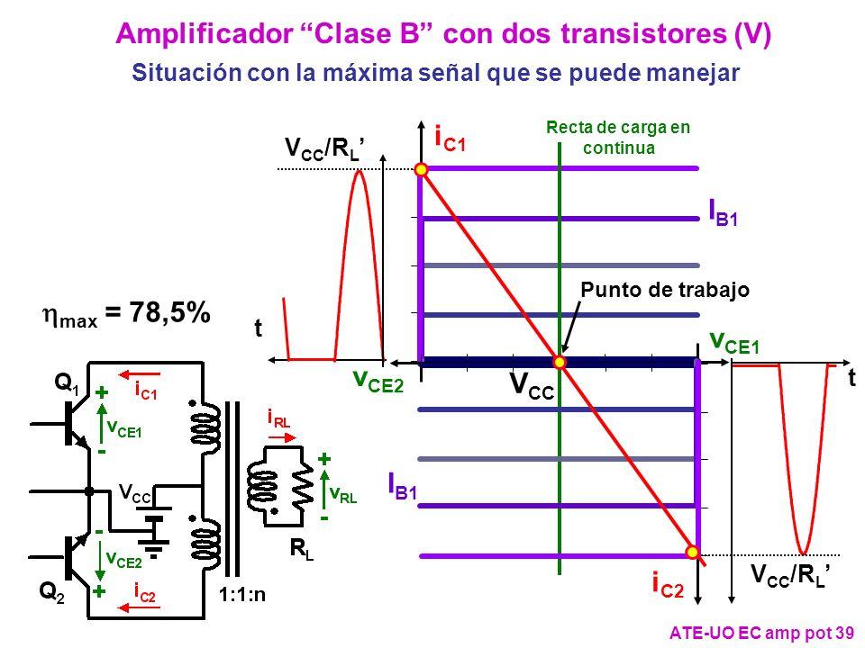 Amplificador Clase B con dos transistores (V)