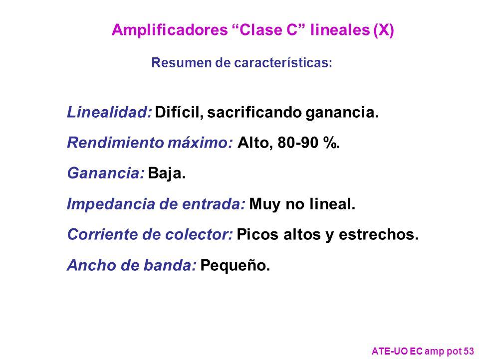 Amplificadores Clase C lineales (X) Resumen de características: