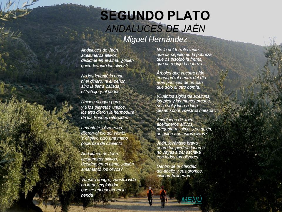 SEGUNDO PLATO ANDALUCES DE JAÉN Miguel Hernández