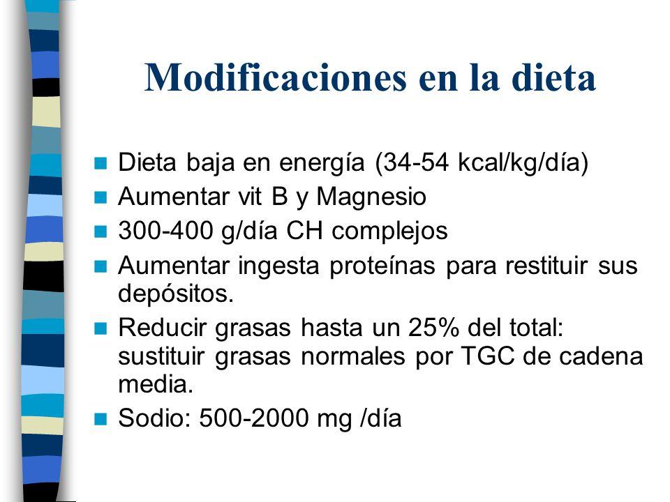 Modificaciones en la dieta