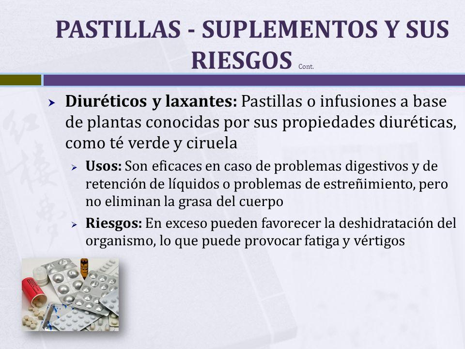 PASTILLAS - SUPLEMENTOS Y SUS RIESGOS Cont.