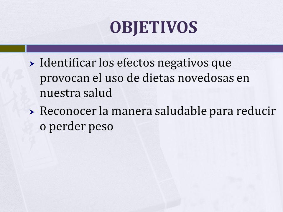 OBJETIVOS Identificar los efectos negativos que provocan el uso de dietas novedosas en nuestra salud.