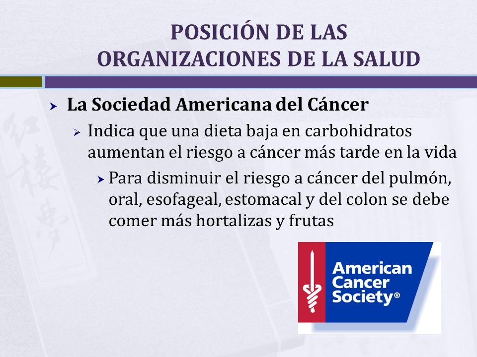 POSICIÓN DE LAS ORGANIZACIONES DE LA SALUD