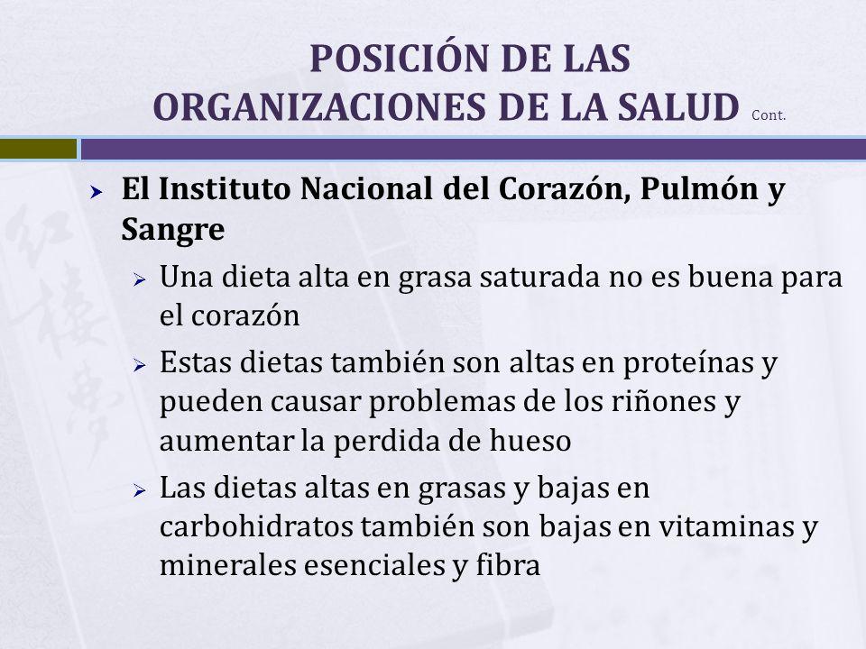 POSICIÓN DE LAS ORGANIZACIONES DE LA SALUD Cont.