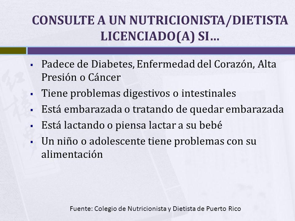 CONSULTE A UN NUTRICIONISTA/DIETISTA LICENCIADO(A) SI…