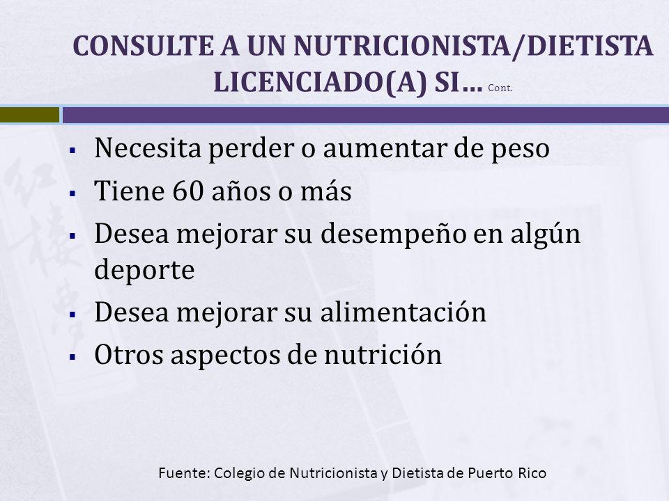 CONSULTE A UN NUTRICIONISTA/DIETISTA LICENCIADO(A) SI… Cont.