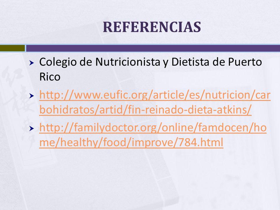 REFERENCIAS Colegio de Nutricionista y Dietista de Puerto Rico