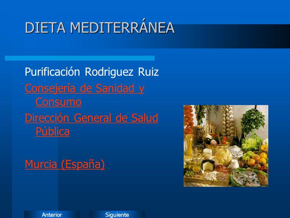 DIETA MEDITERRÁNEA Purificación Rodriguez Ruiz