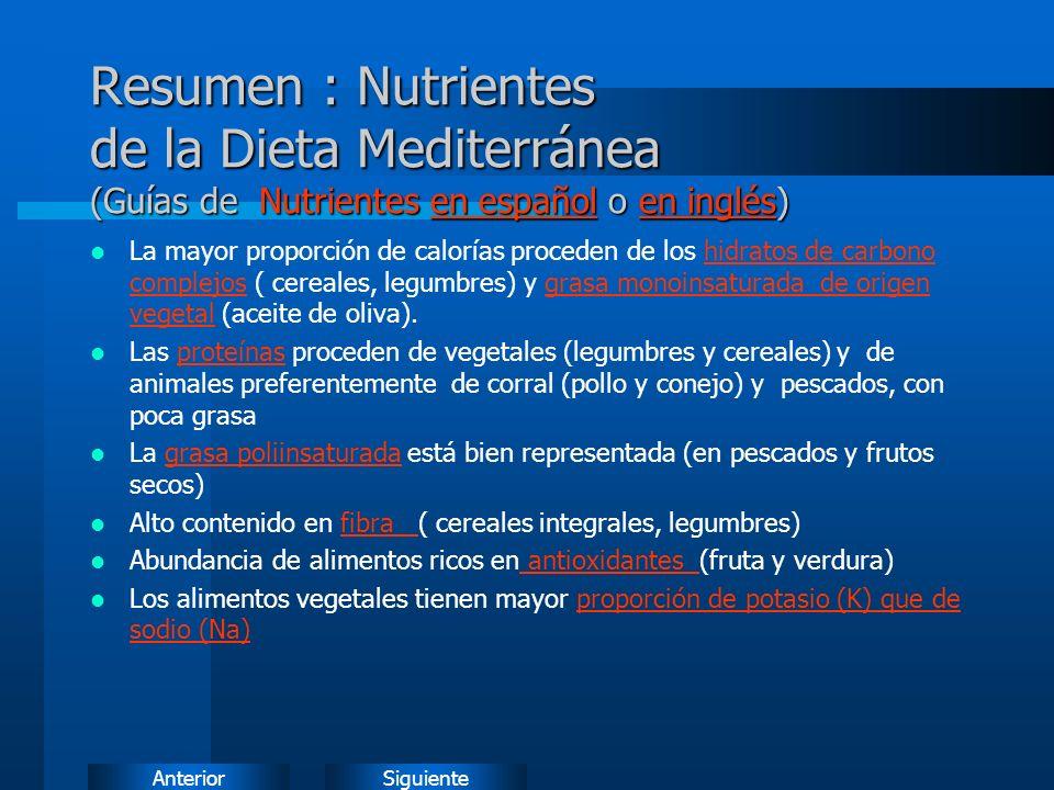 Resumen : Nutrientes de la Dieta Mediterránea (Guías de Nutrientes en español o en inglés)