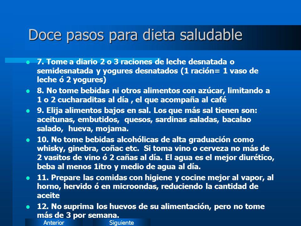 Doce pasos para dieta saludable