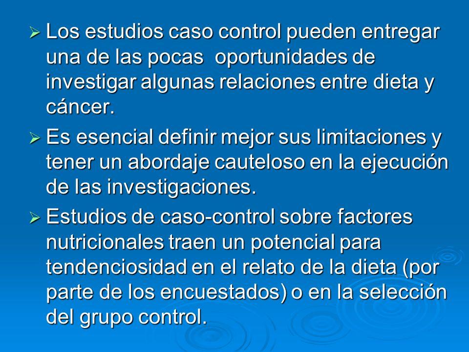 Los estudios caso control pueden entregar una de las pocas oportunidades de investigar algunas relaciones entre dieta y cáncer.