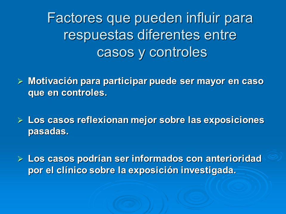 Factores que pueden influir para respuestas diferentes entre casos y controles