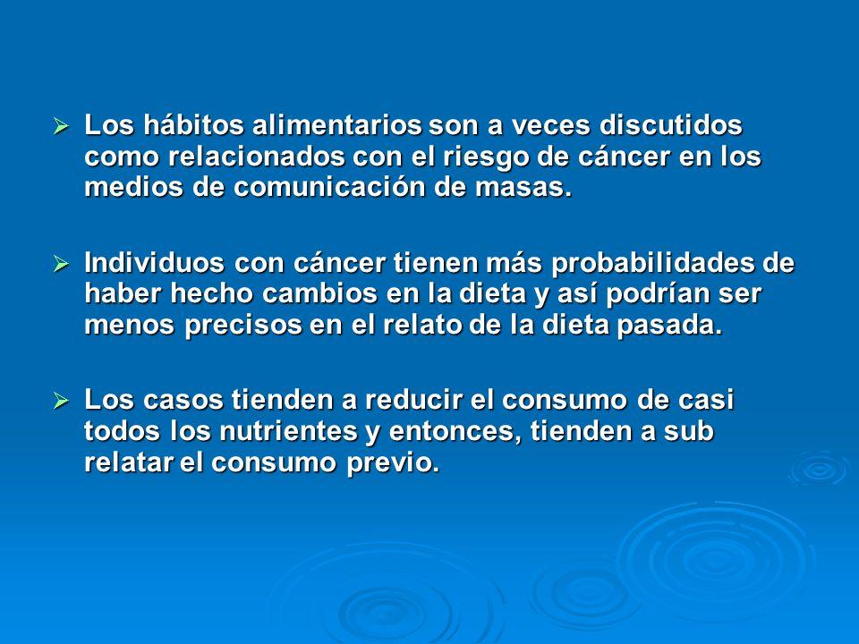 Los hábitos alimentarios son a veces discutidos como relacionados con el riesgo de cáncer en los medios de comunicación de masas.