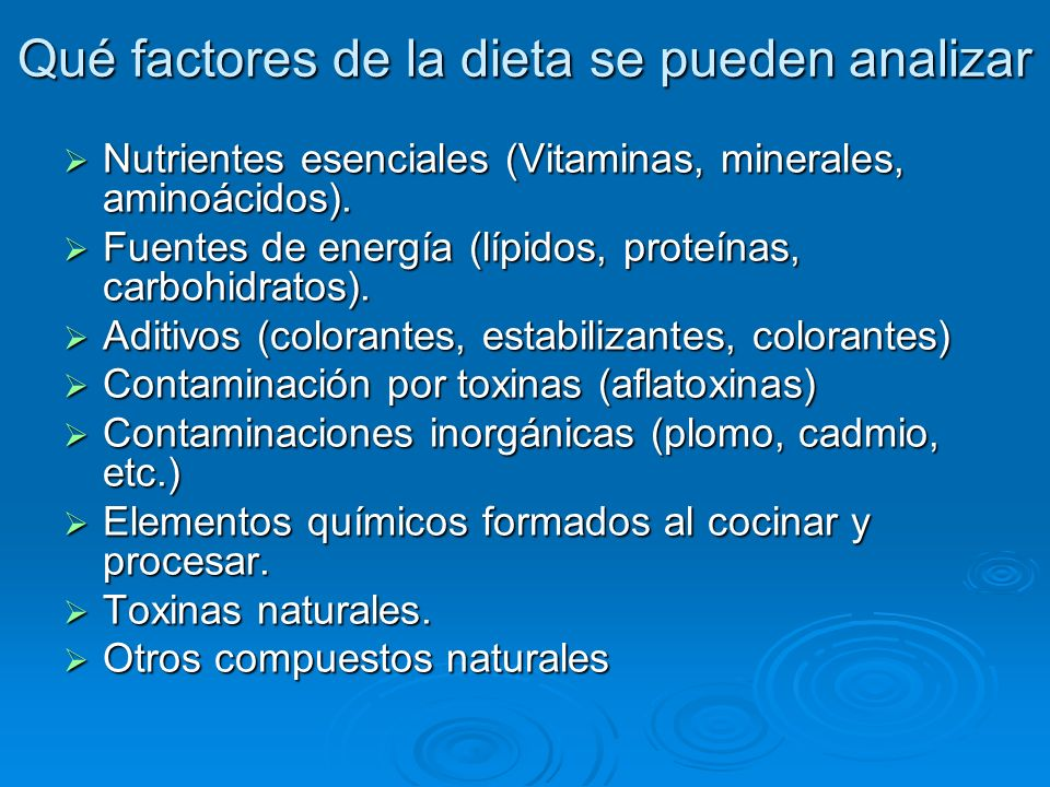 Qué factores de la dieta se pueden analizar