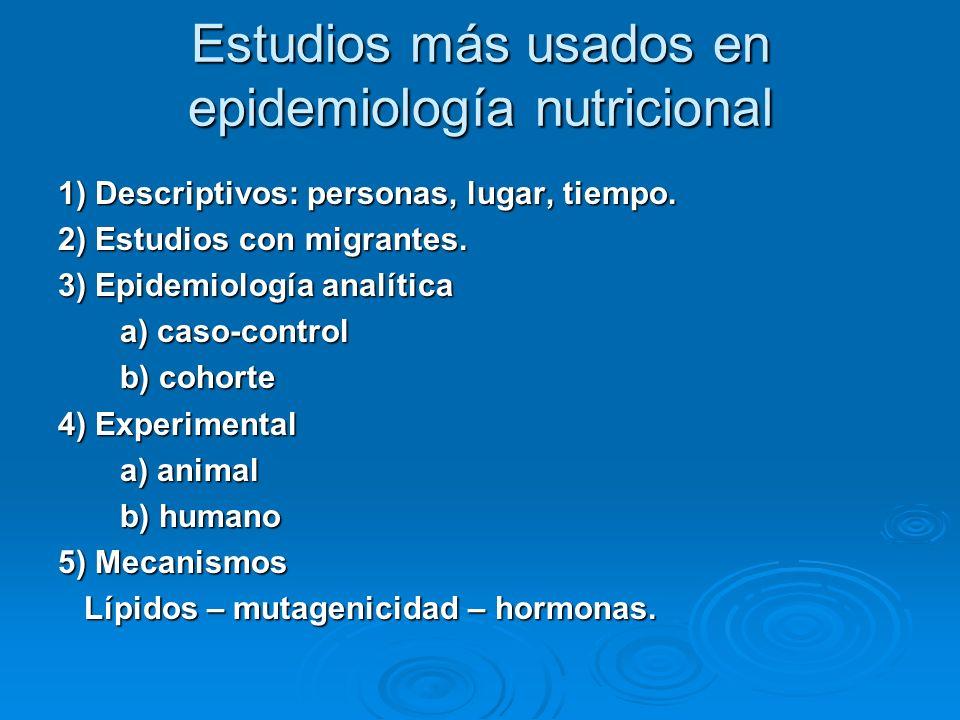 Estudios más usados en epidemiología nutricional