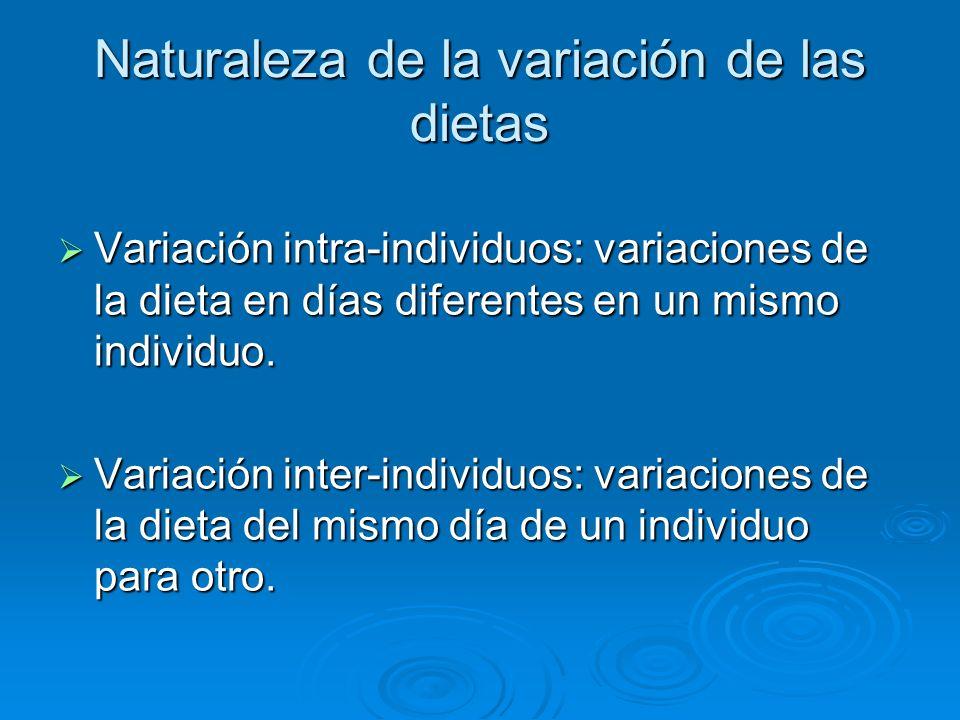 Naturaleza de la variación de las dietas