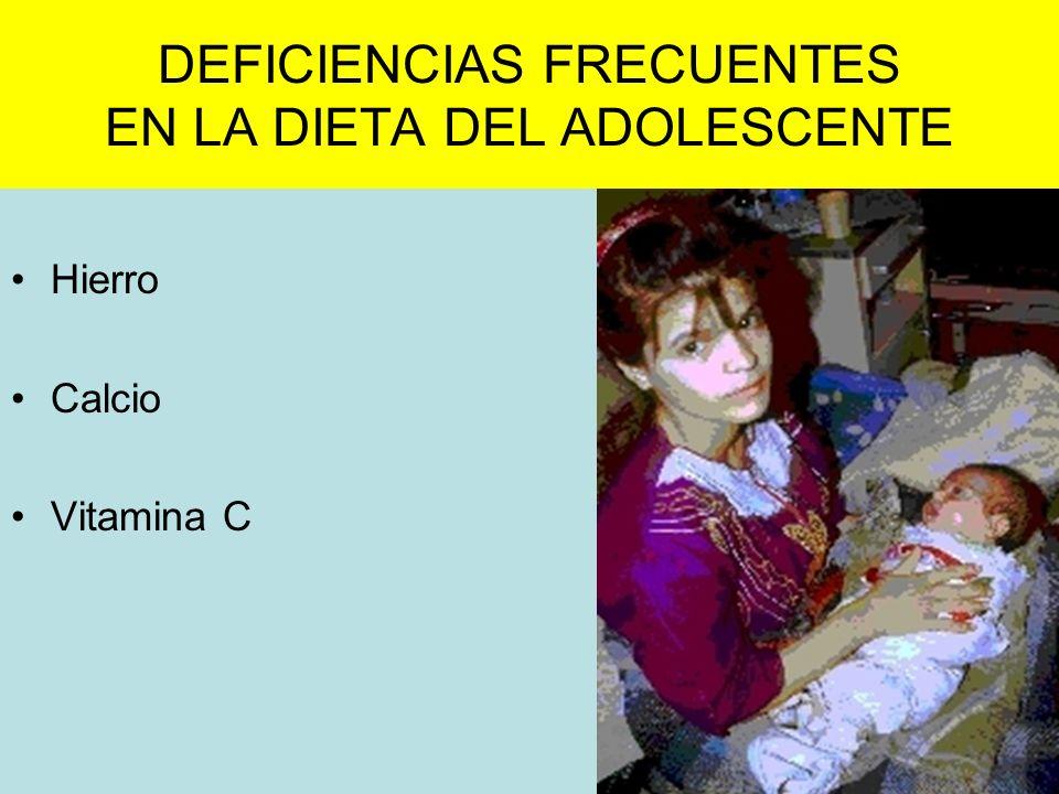 DEFICIENCIAS FRECUENTES EN LA DIETA DEL ADOLESCENTE