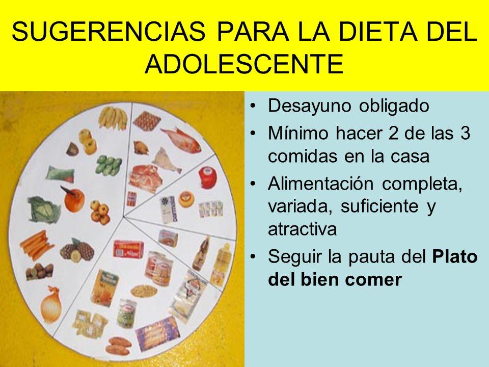 SUGERENCIAS PARA LA DIETA DEL ADOLESCENTE