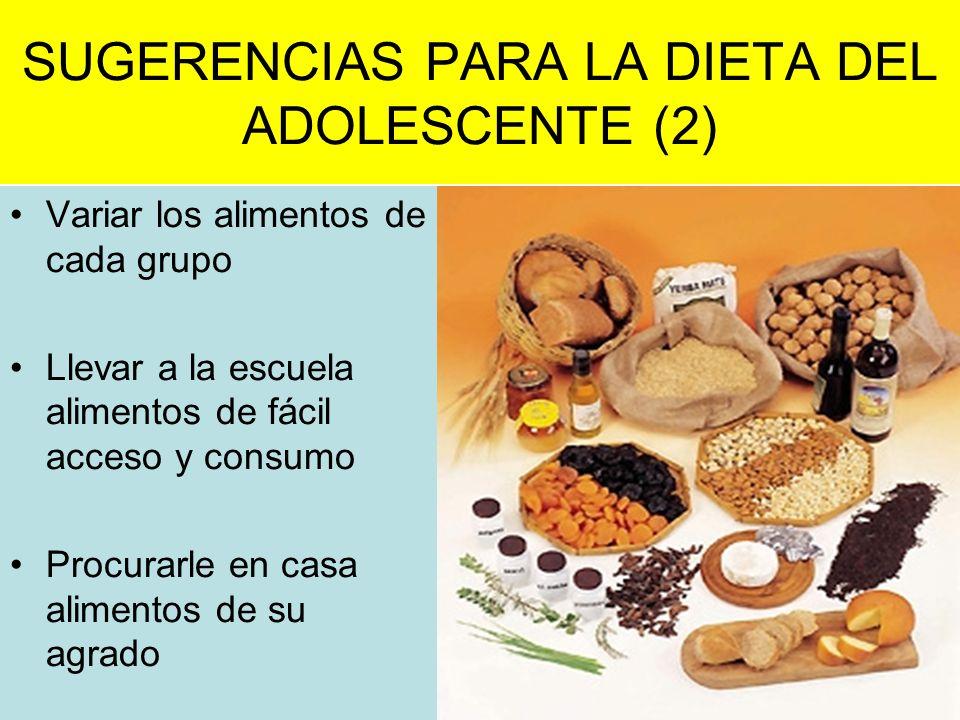 SUGERENCIAS PARA LA DIETA DEL ADOLESCENTE (2)