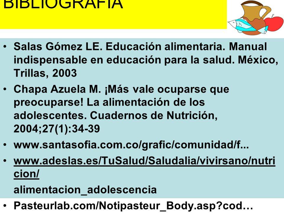 BIBLIOGRAFÍA Salas Gómez LE. Educación alimentaria. Manual indispensable en educación para la salud. México, Trillas, 2003.