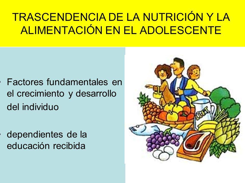 TRASCENDENCIA DE LA NUTRICIÓN Y LA ALIMENTACIÓN EN EL ADOLESCENTE