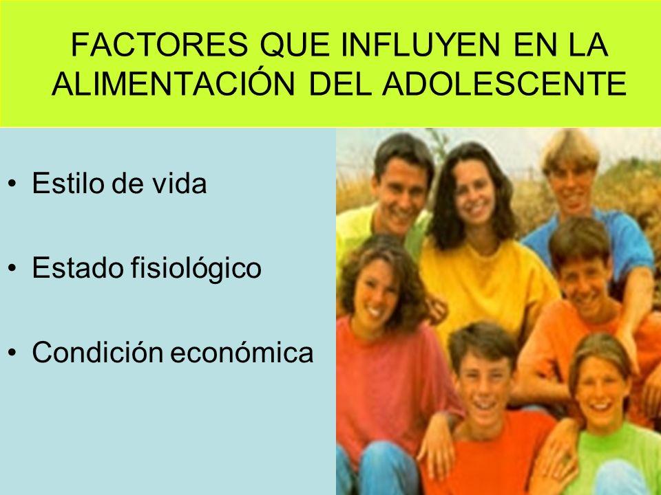 FACTORES QUE INFLUYEN EN LA ALIMENTACIÓN DEL ADOLESCENTE