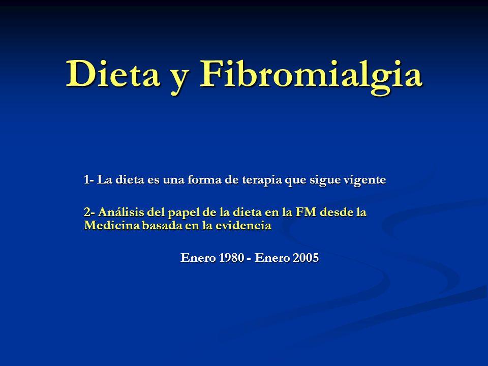 Dieta y Fibromialgia 1- La dieta es una forma de terapia que sigue vigente.