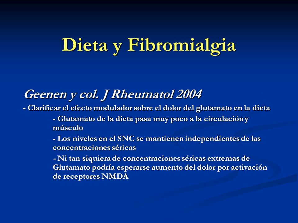Dieta y Fibromialgia Geenen y col. J Rheumatol 2004
