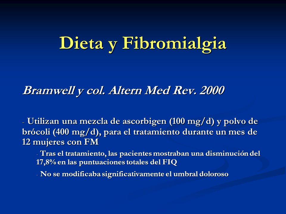 Dieta y Fibromialgia Bramwell y col. Altern Med Rev. 2000