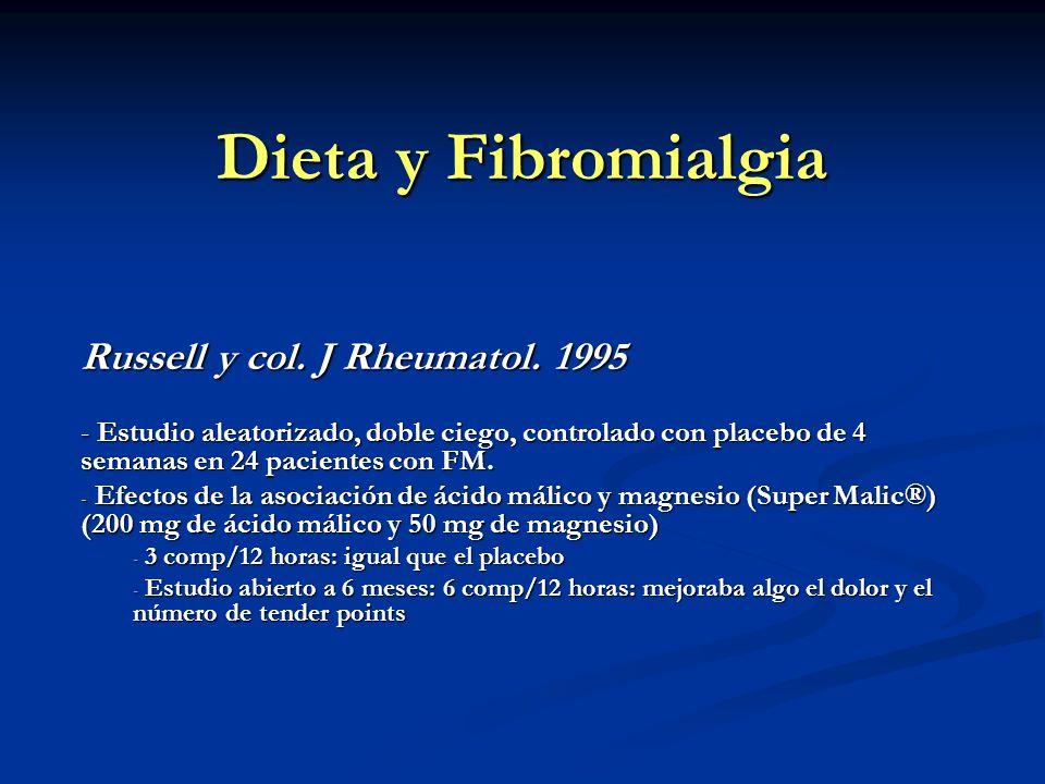 Dieta y Fibromialgia Russell y col. J Rheumatol. 1995