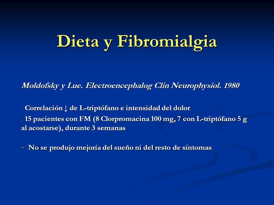 Dieta y Fibromialgia Moldofsky y Lue. Electroencephalog Clin Neurophysiol. 1980. Correlación ↓ de L-triptófano e intensidad del dolor.