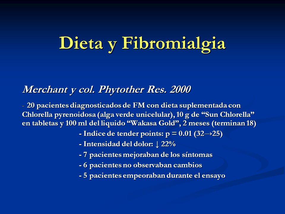 Dieta y Fibromialgia Merchant y col. Phytother Res. 2000