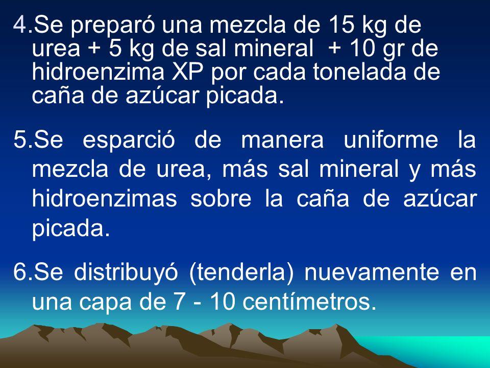 Se preparó una mezcla de 15 kg de urea + 5 kg de sal mineral + 10 gr de hidroenzima XP por cada tonelada de caña de azúcar picada.