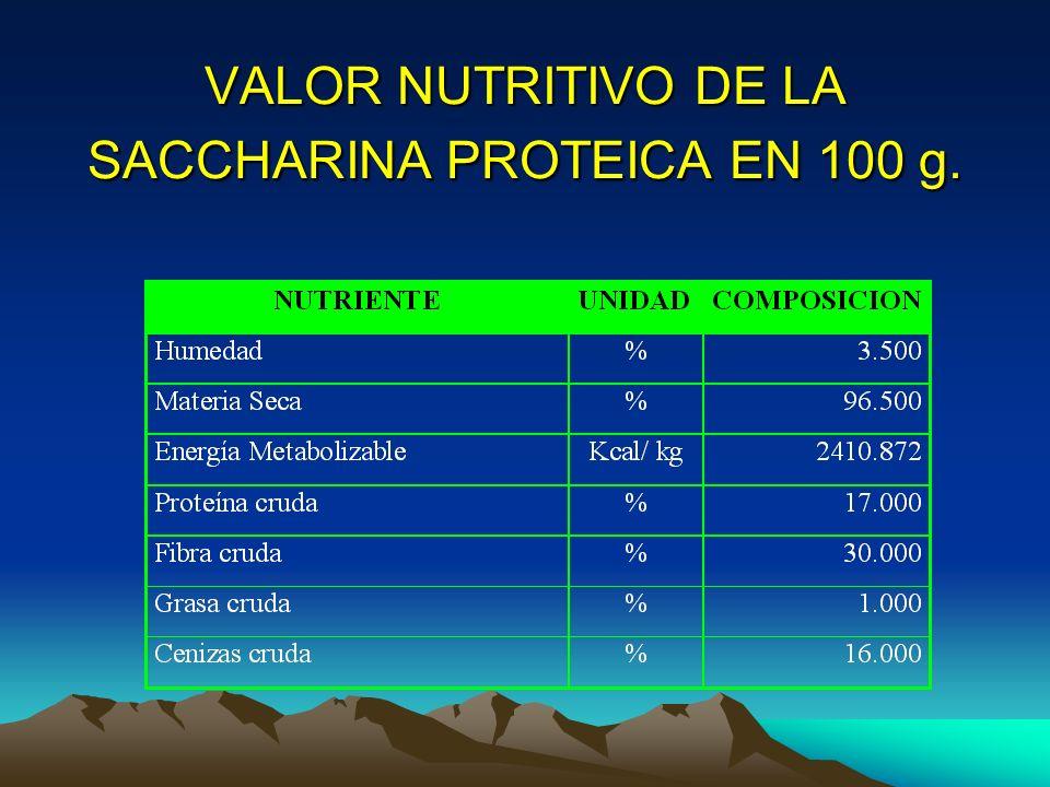 VALOR NUTRITIVO DE LA SACCHARINA PROTEICA EN 100 g.